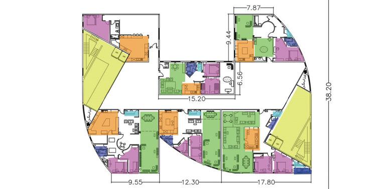 طرح معماری 5 پروژه مجتمع مسکونی 001418