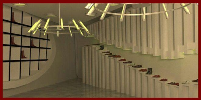 طرح ارشد معماری داخلی فروشگاه کفش