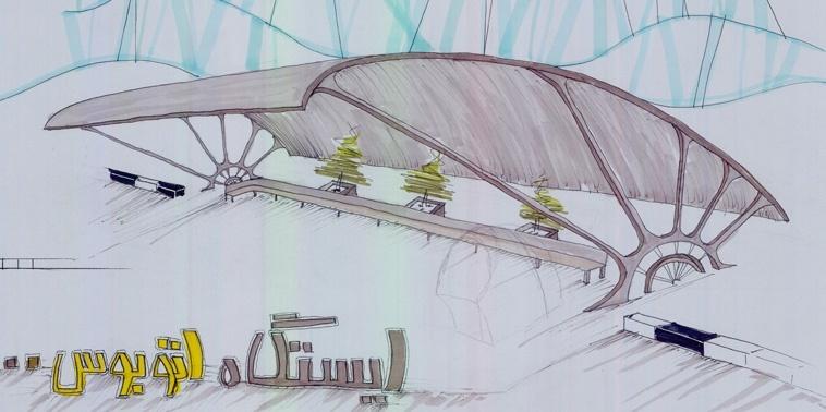 کارگاه مصالح و ساخت ایستگاه اتوبوس0112